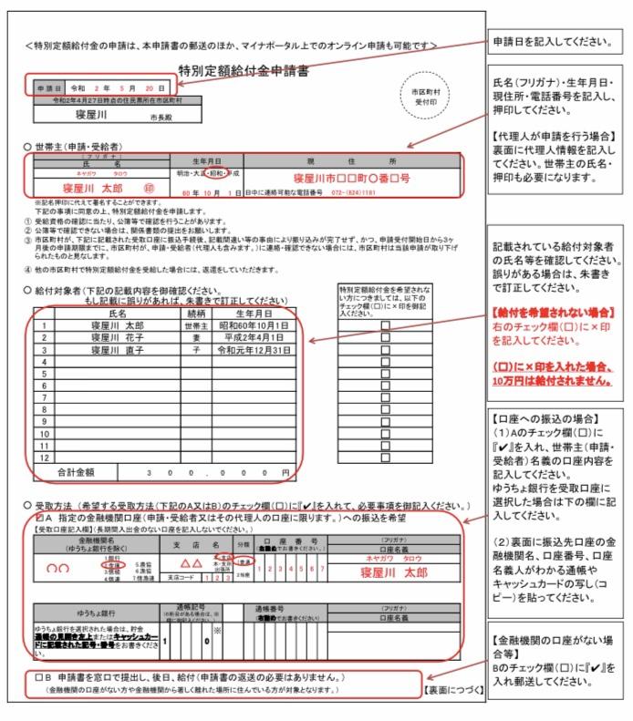 給付金請求用紙の見本